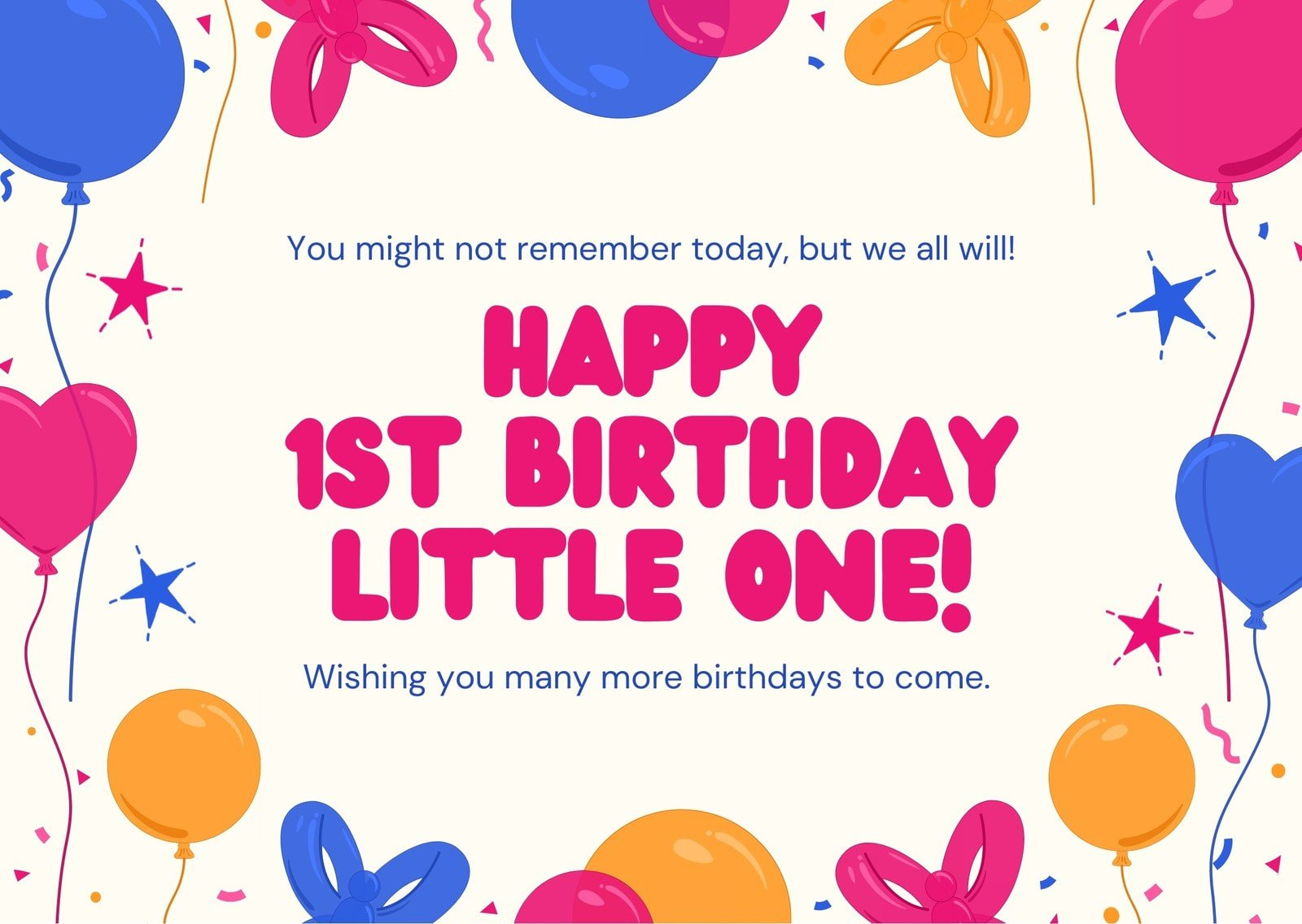 Pink Blue and Yellow Balloons Kids Party 1st Birthday E-card