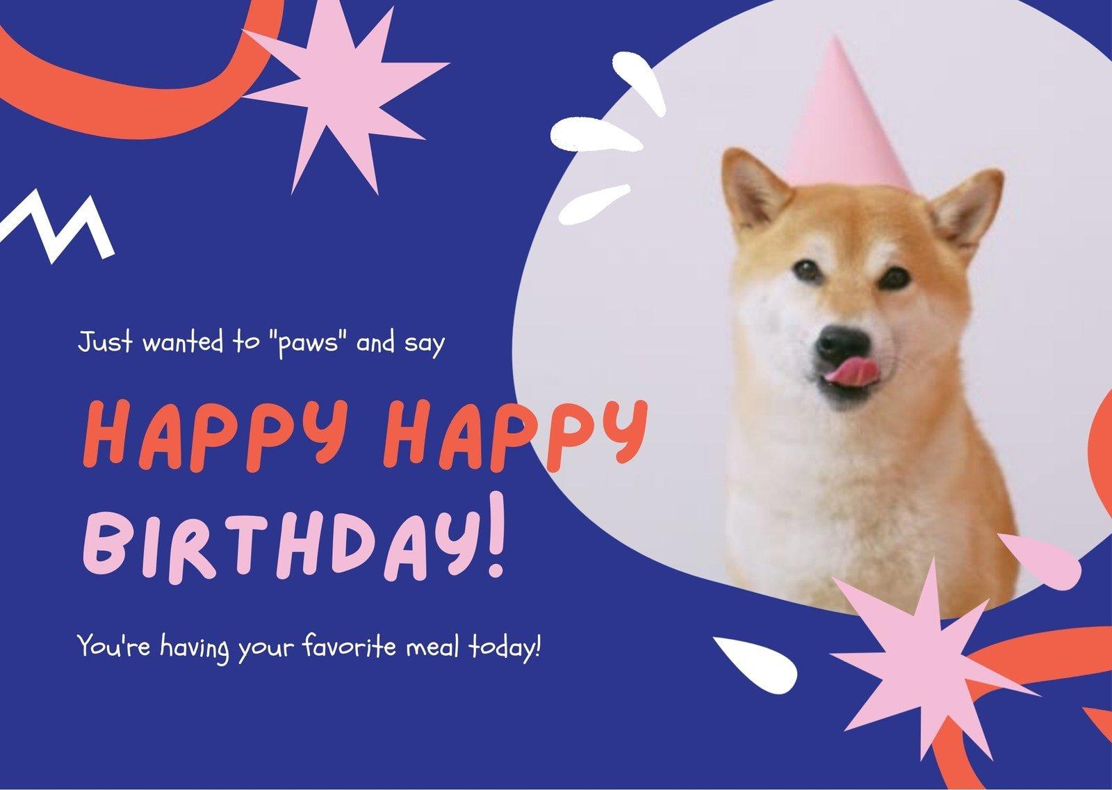 Blue Orange and Pink Hand Illustration Pet's Birthday E-card