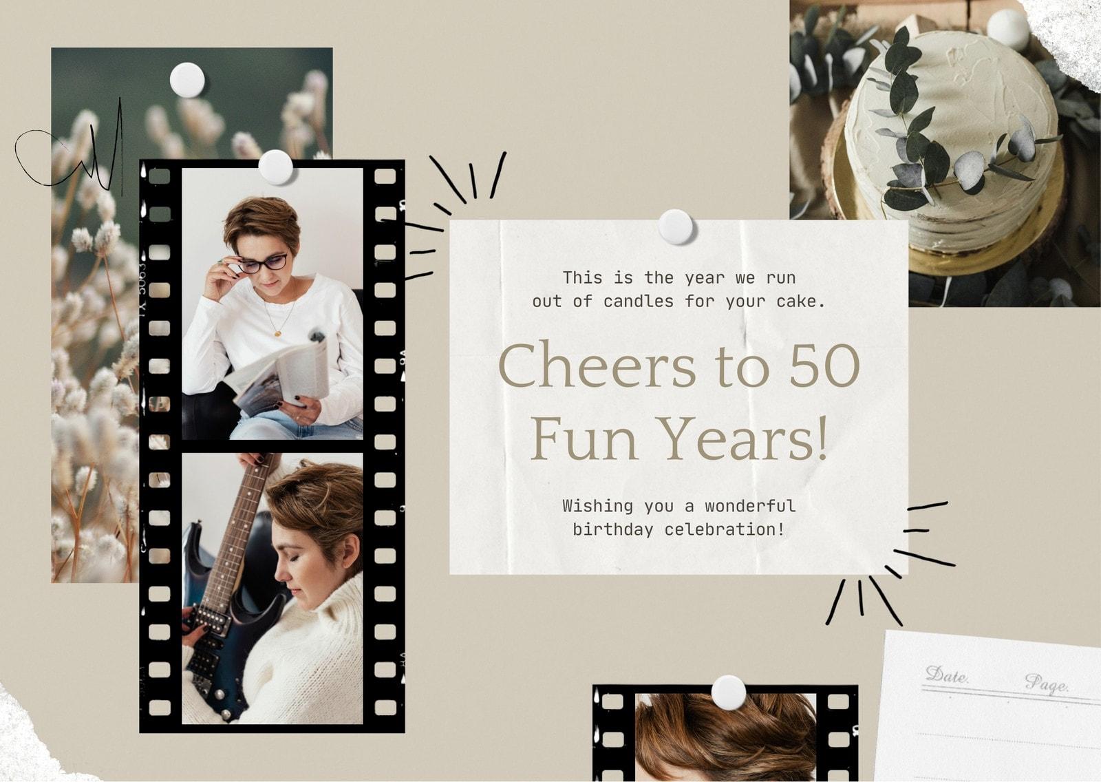 Brown Film Strip Moodboard Scrapbook 50th Birthday E-card