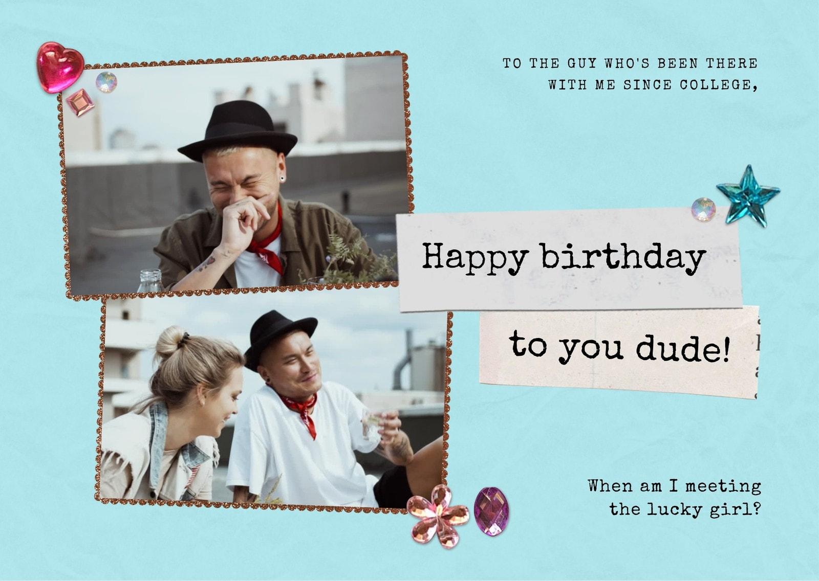 Blue 90s Rhinestones Friend's Birthday E-card