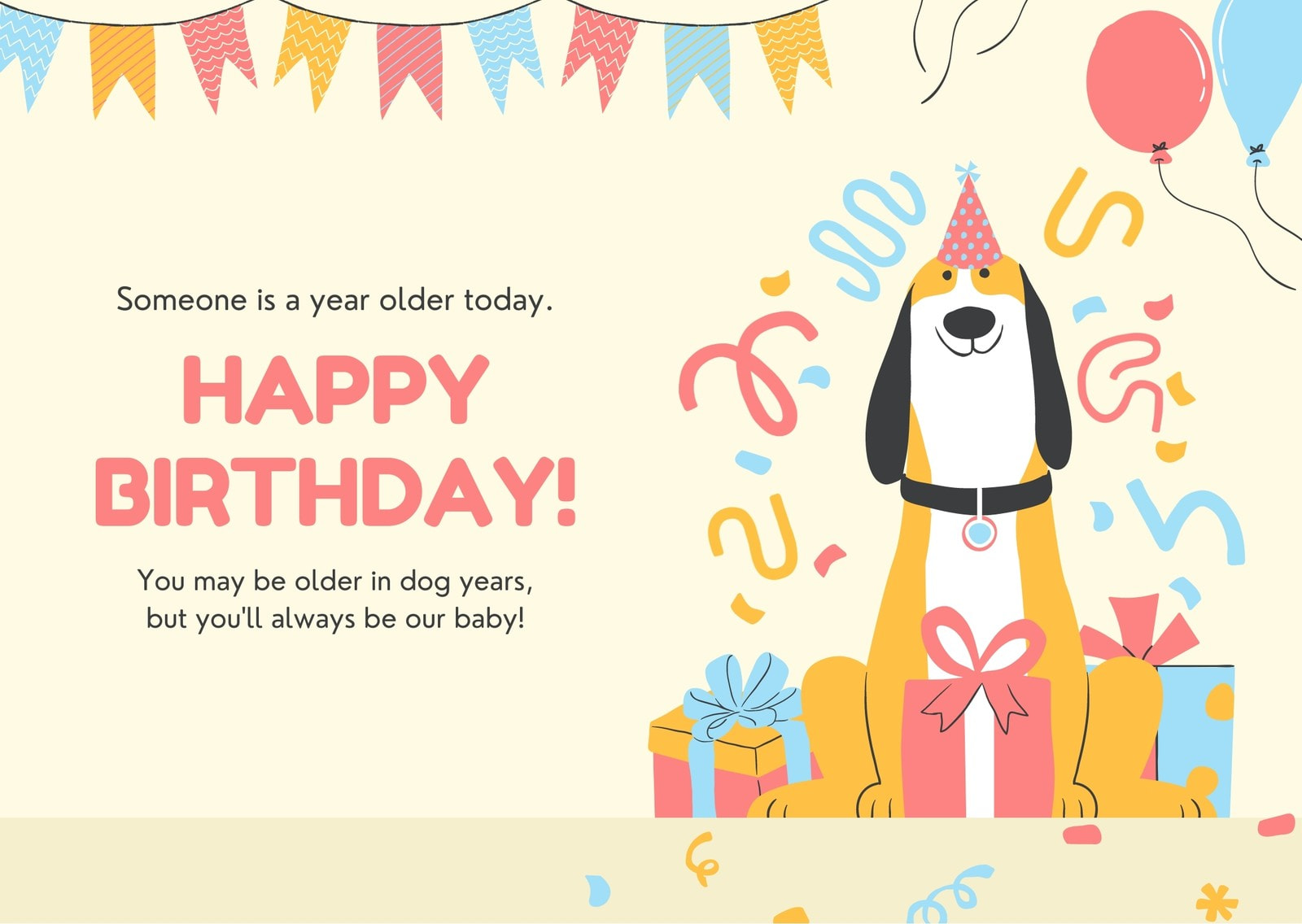 Colorful Dog Kids Party Pet's Birthday E-card
