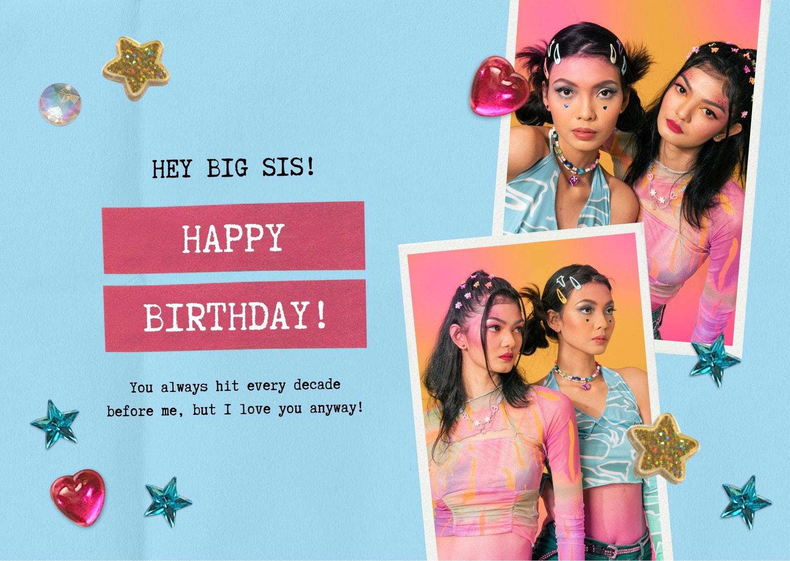 Blue Women 90s Rhinestones Sister's Birthday E-card