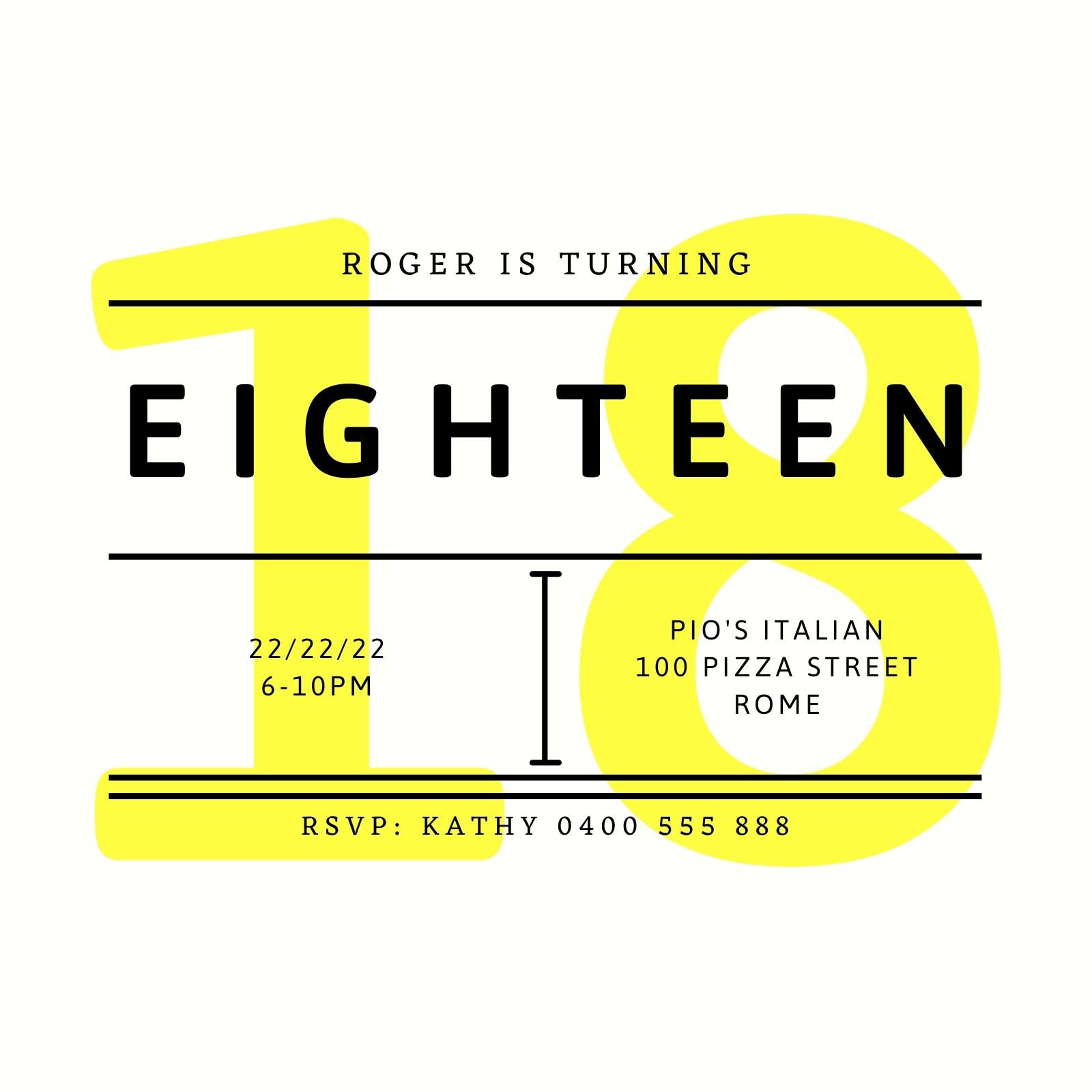 Yellow Bold Text 18th Birthday Invitation
