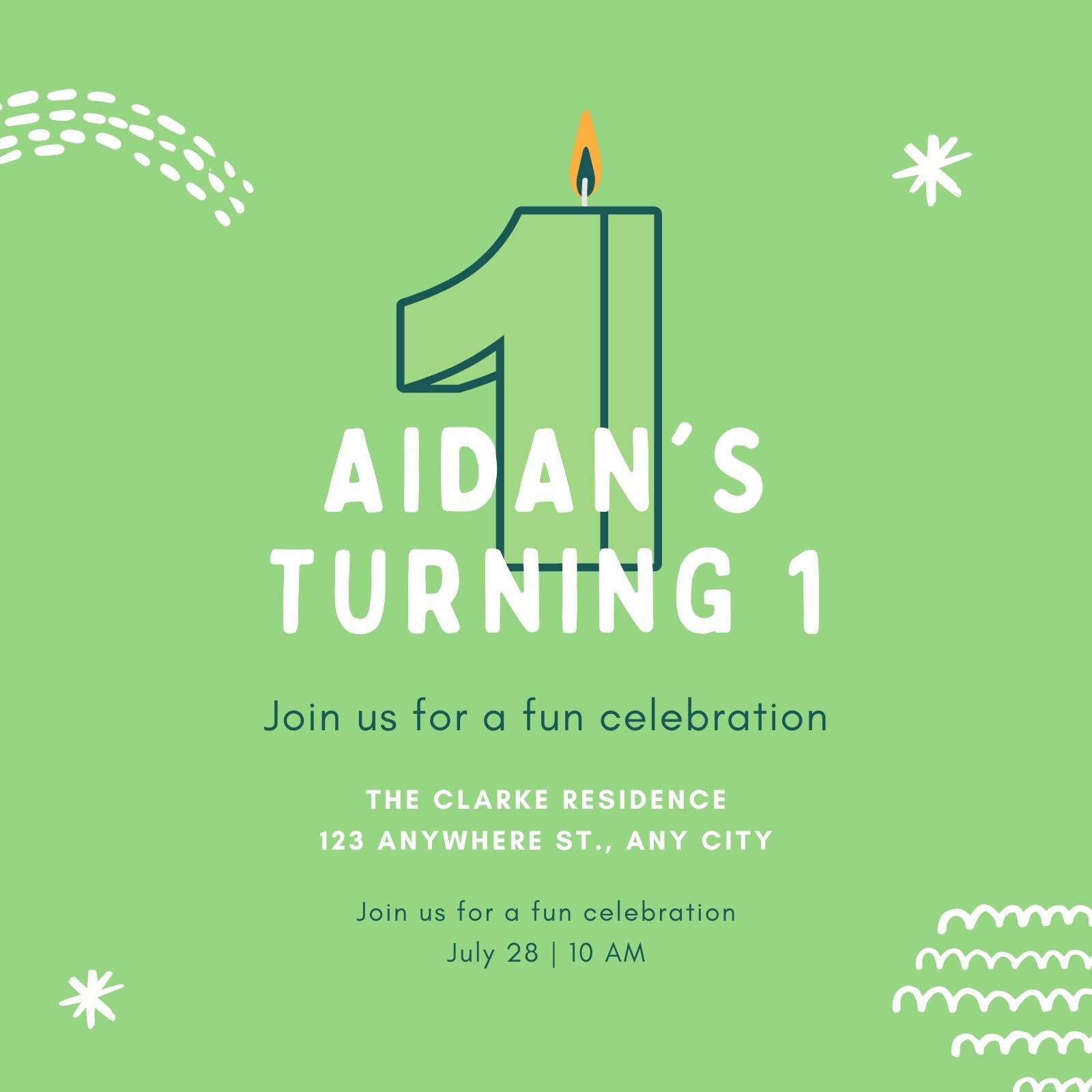 Green Fun 1st Birthday Invitation