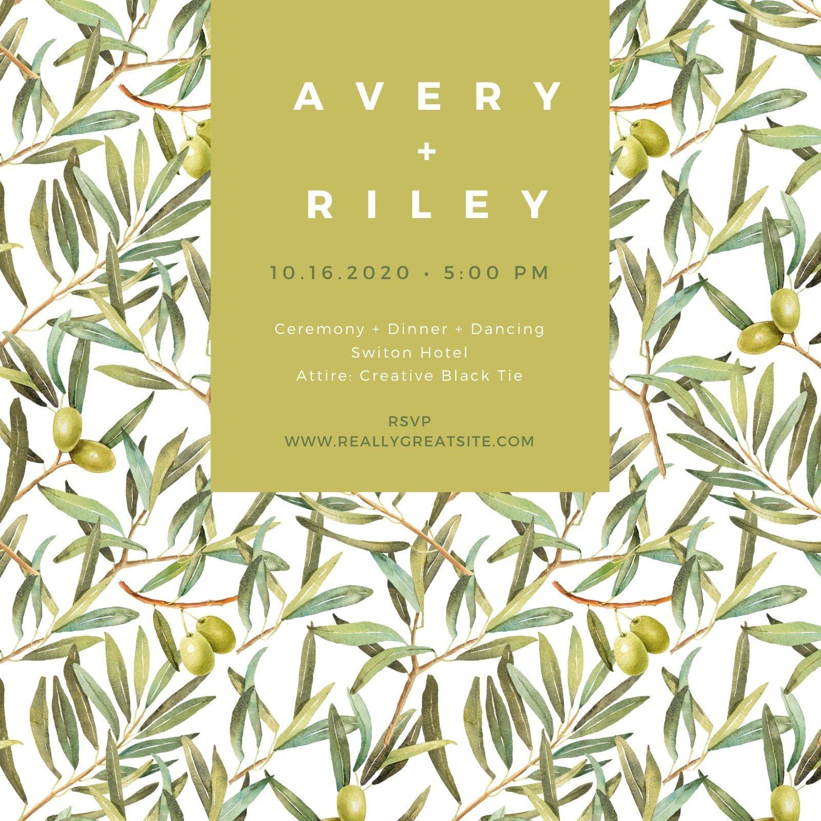 Green Olive Modern Contemporary Wedding Invitation