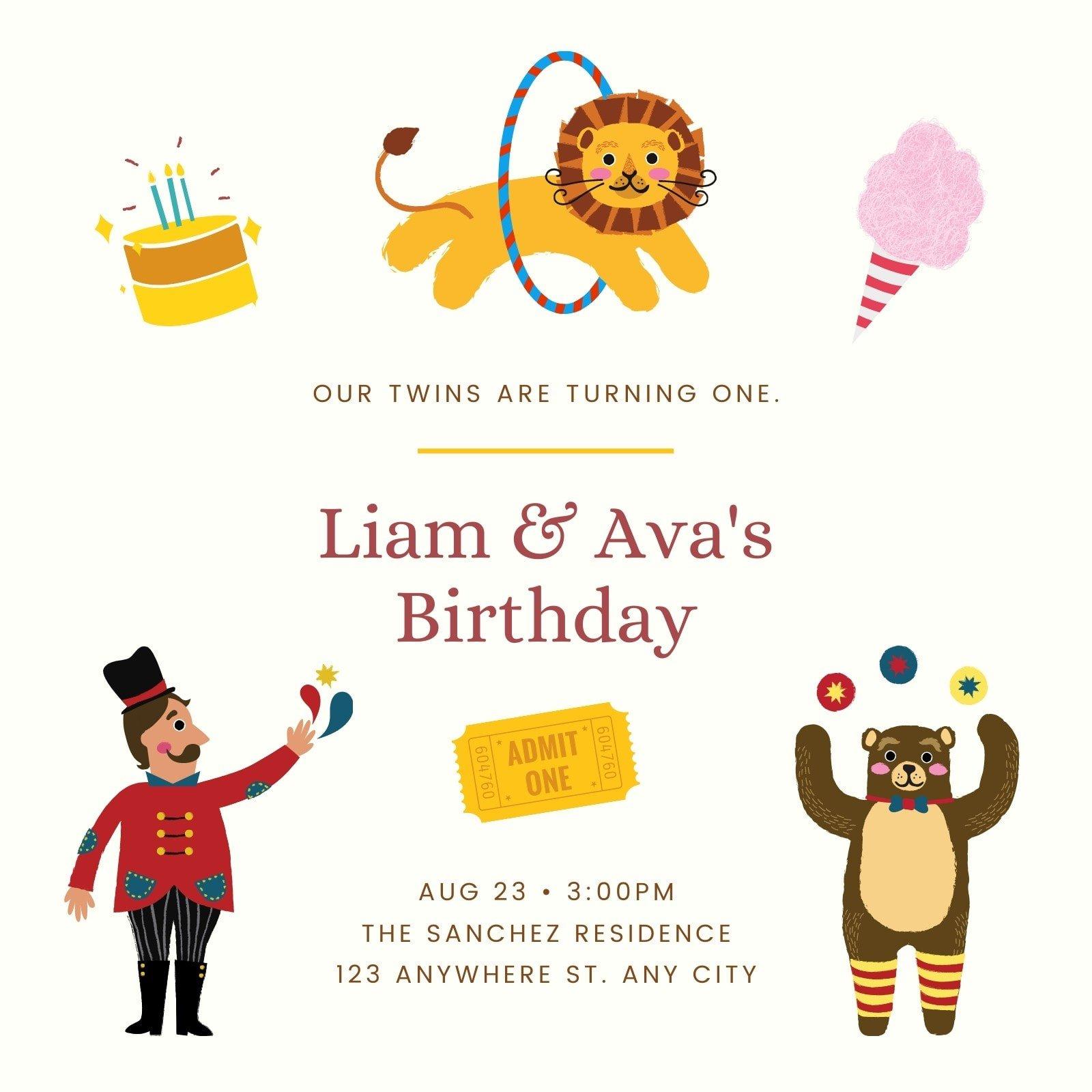 Colorful Circus 1st Birthday Invitation