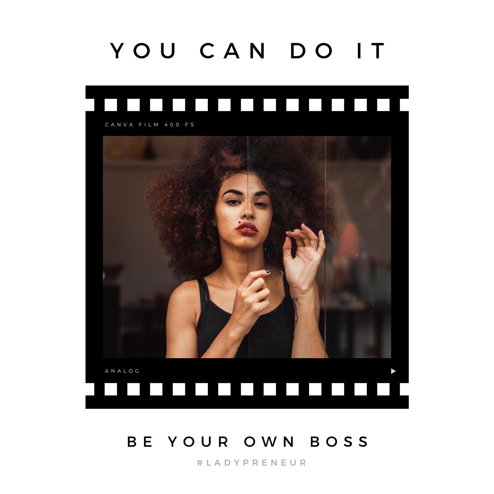 Minimalist Film Small Business Motivational Quote Social Media Post