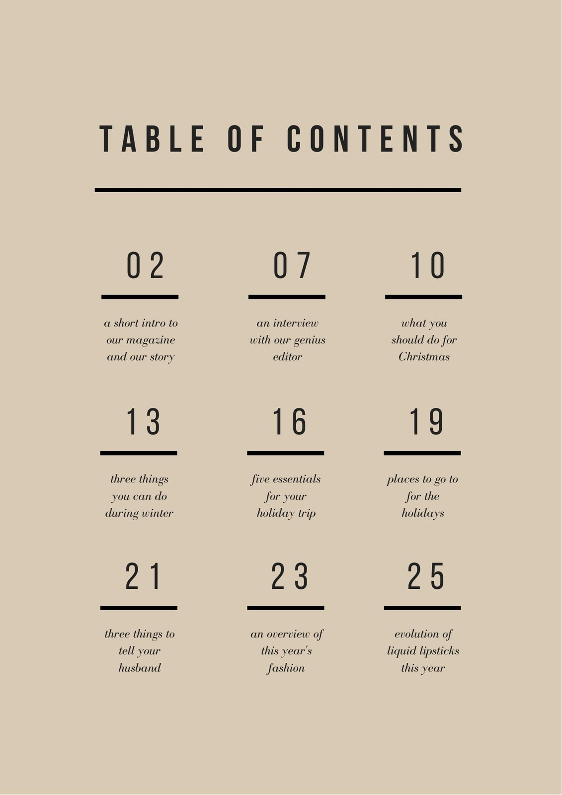 Beige and Black Minimal General Table of Contents