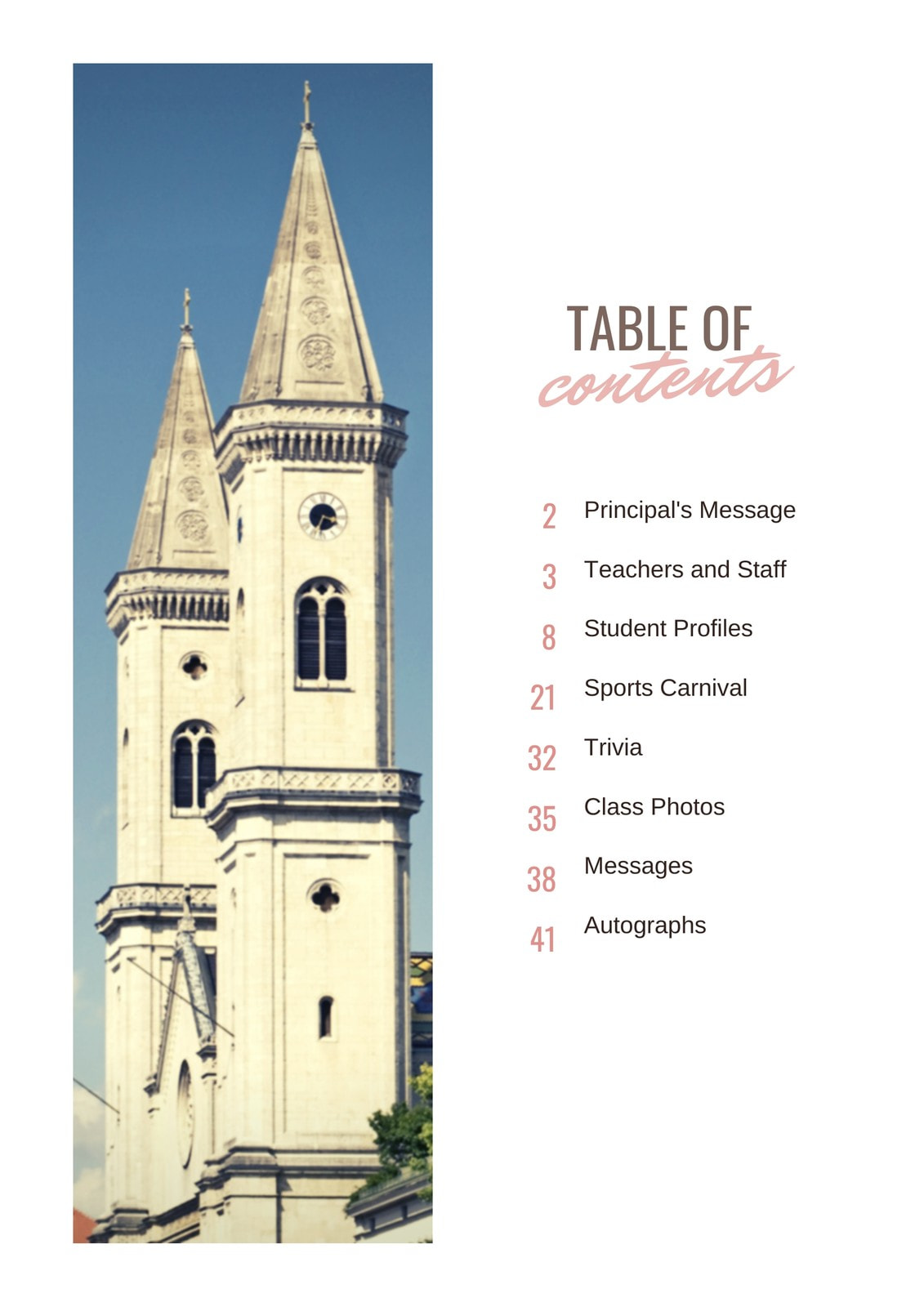 Pink Photo Table of Contents Yearbook