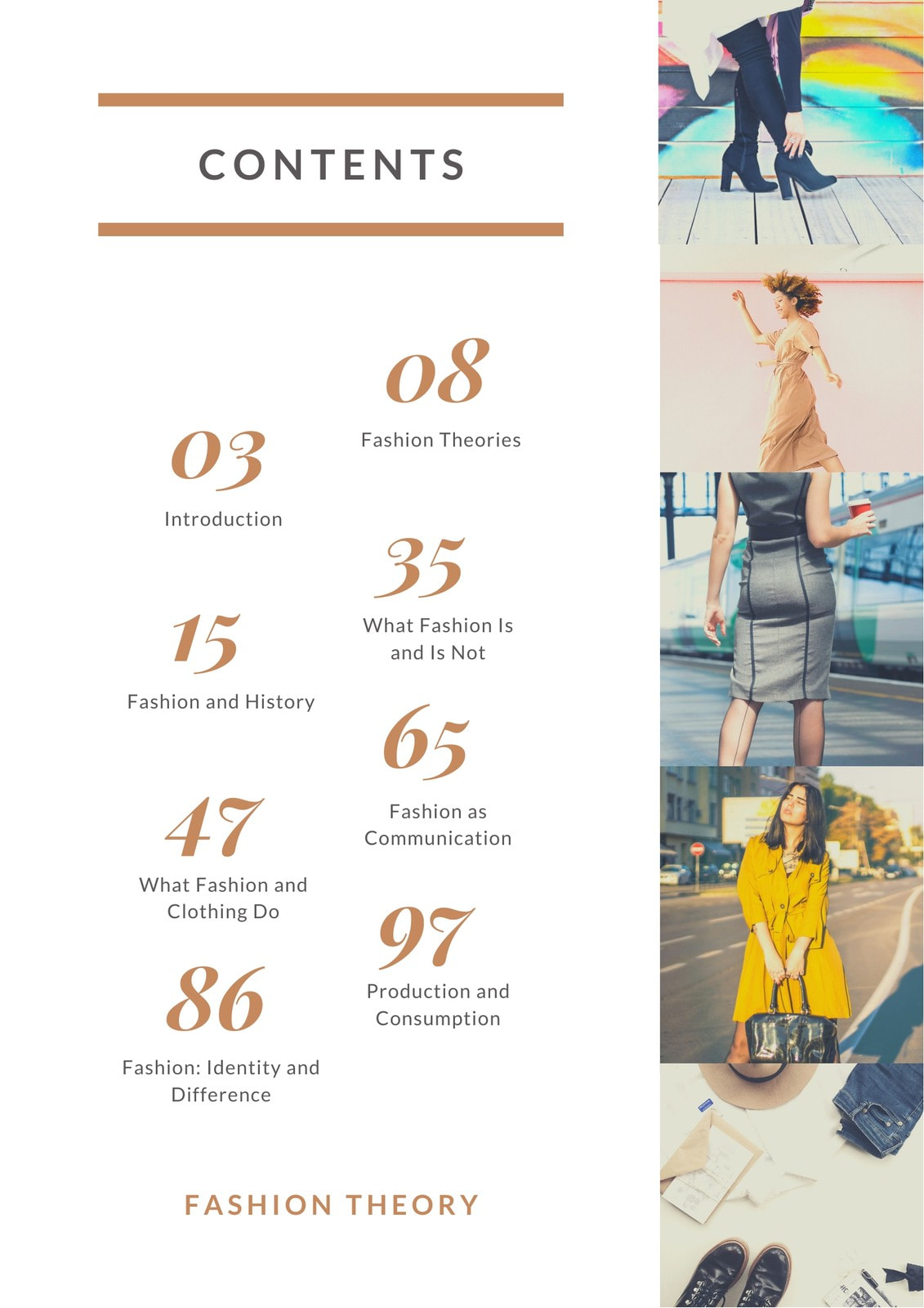 White Fashion General Table of Contents