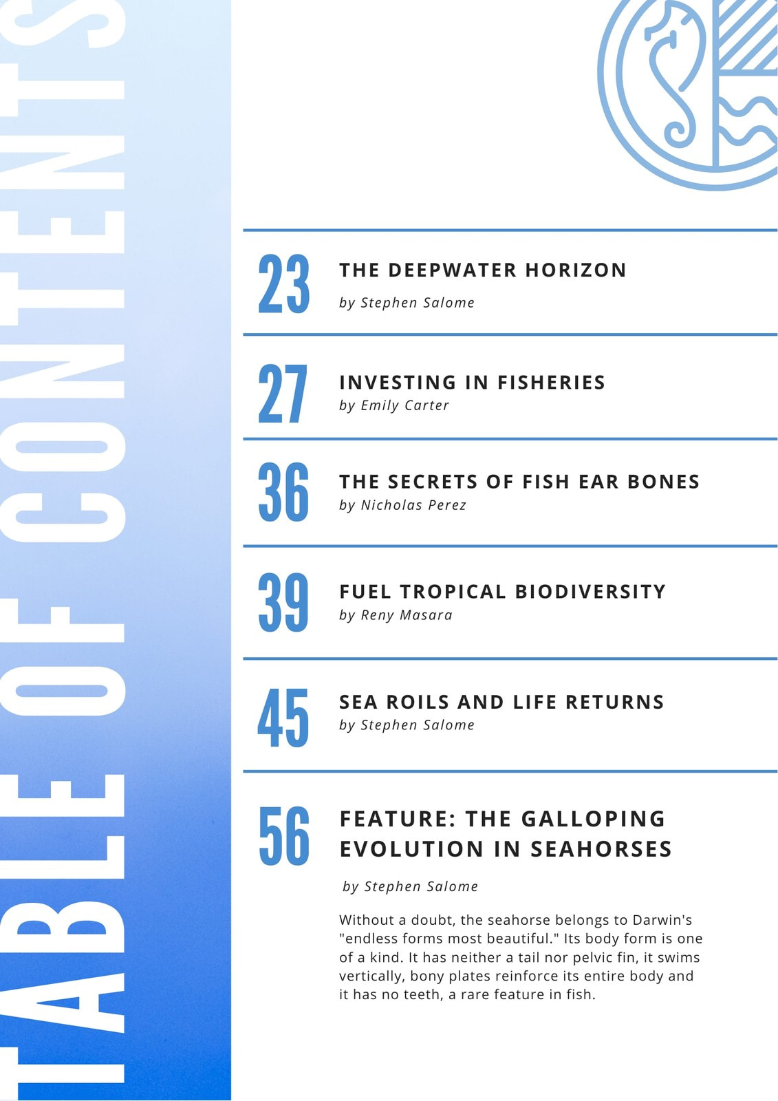 Blue Gradient Table of Contents
