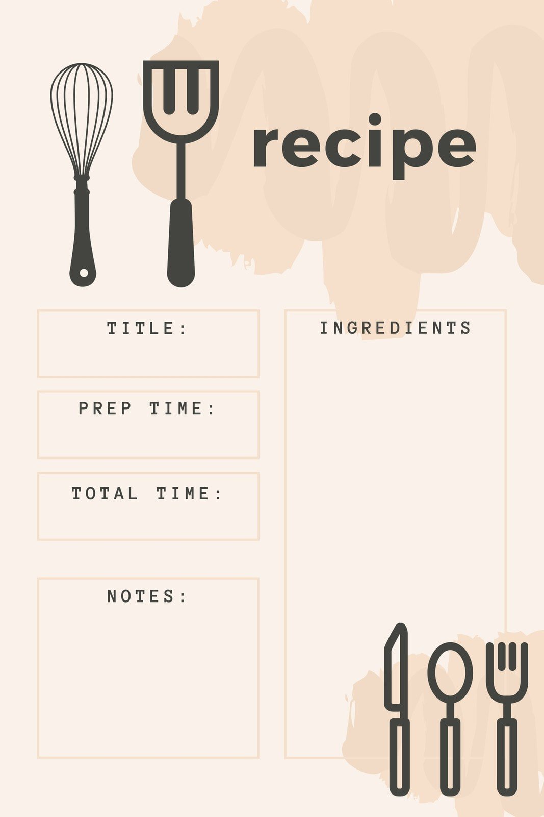Pink and Gray Icons General Recipe Card