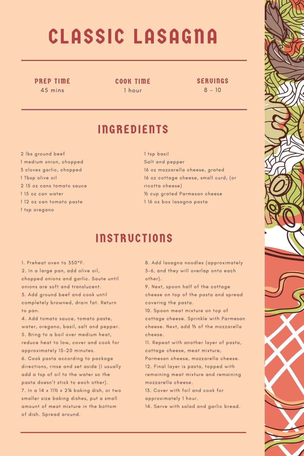 Red Classic Lasagna Illustration General Recipe Card