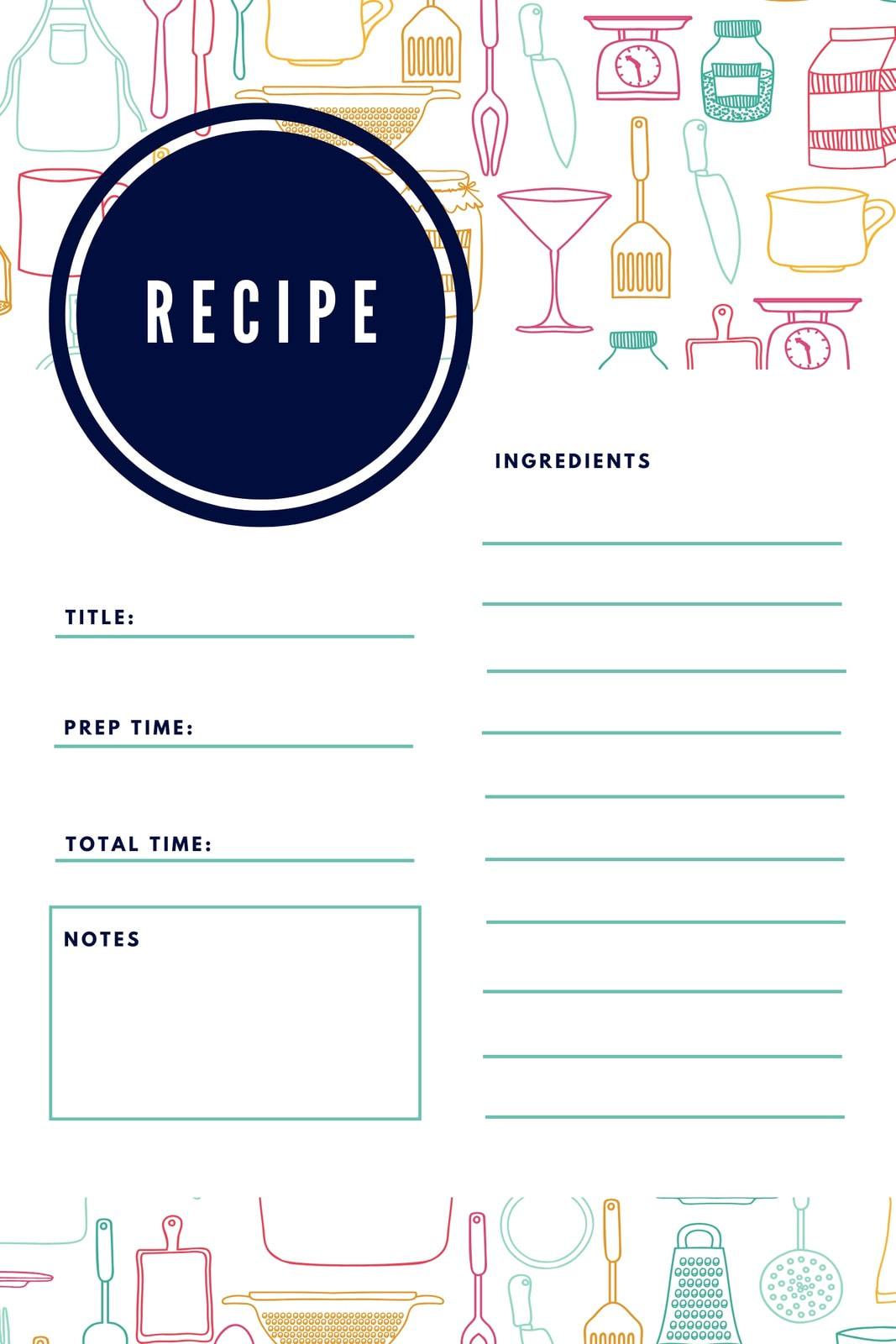 Colorful Illustrated General Recipe Card