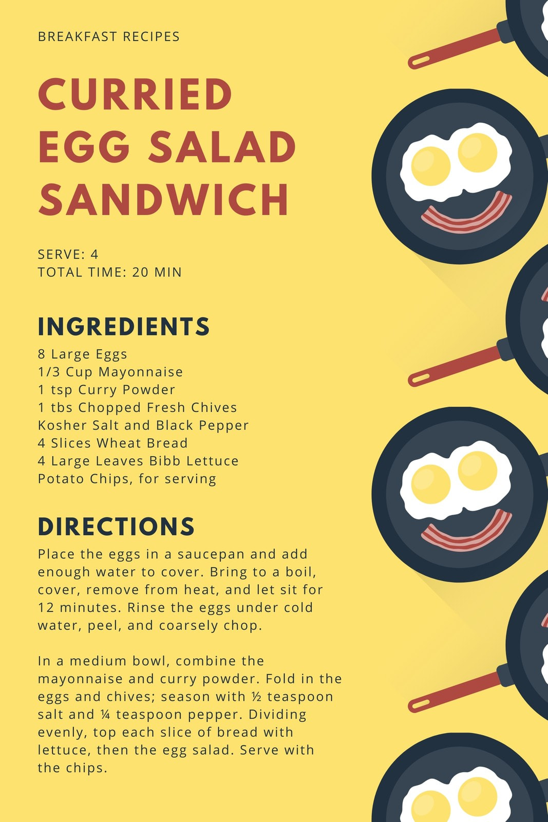 Yellow Egg and Bacon Breakfast General Recipe Card