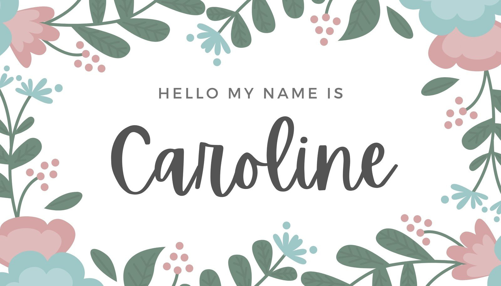 Floral Name Tag