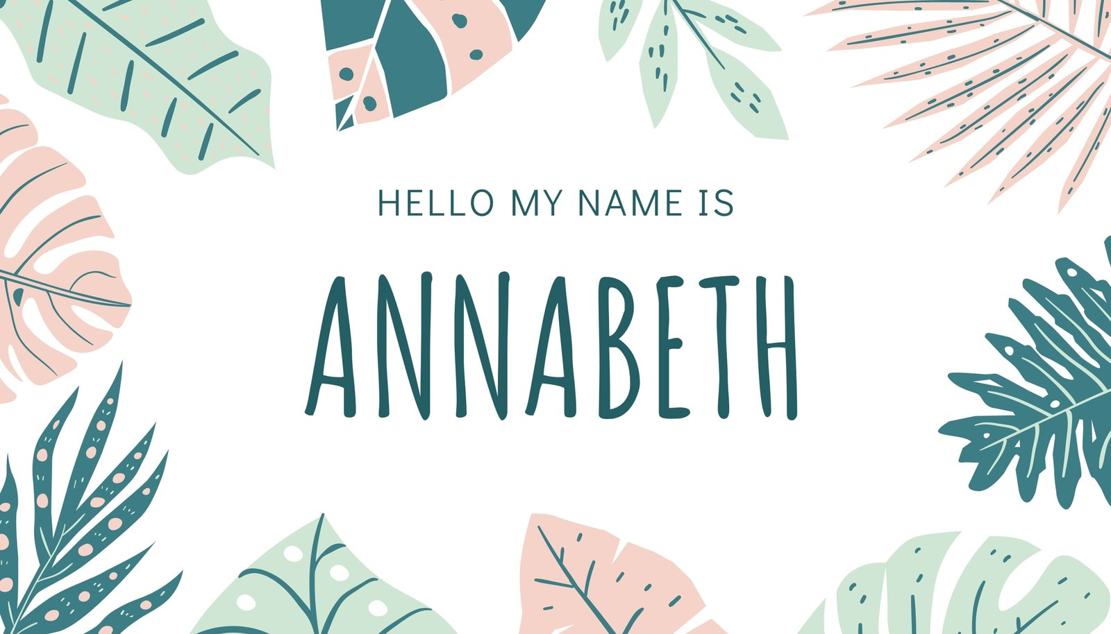Pretty Leaf Name Tag