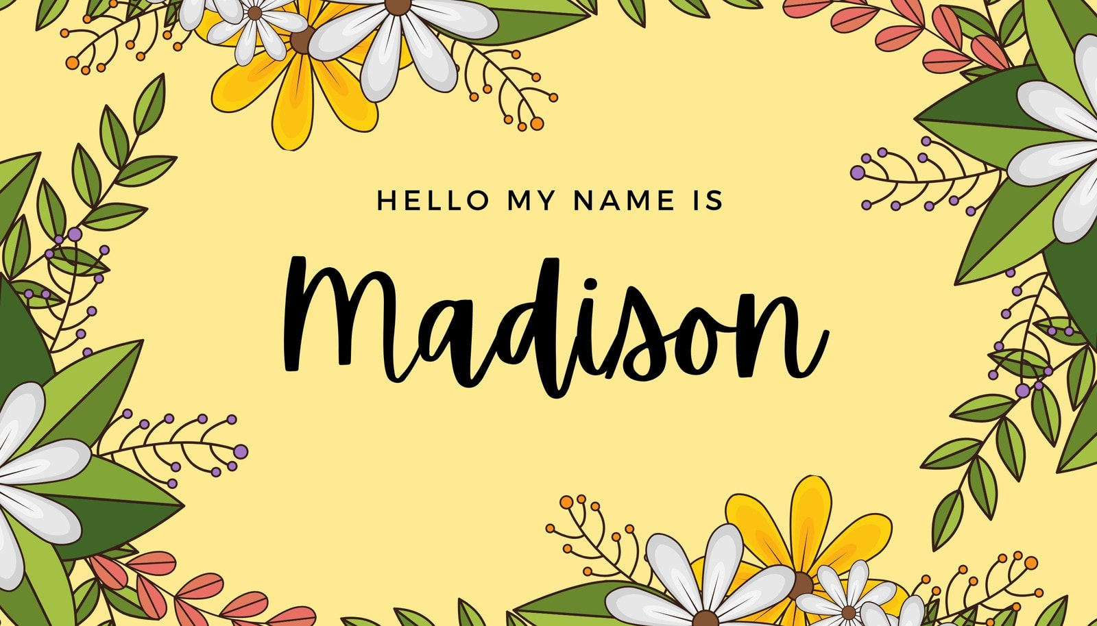 Bright Yellow Floral Name Tag