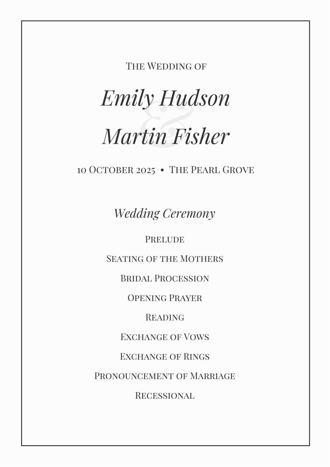 Black and White Classic Wedding Program