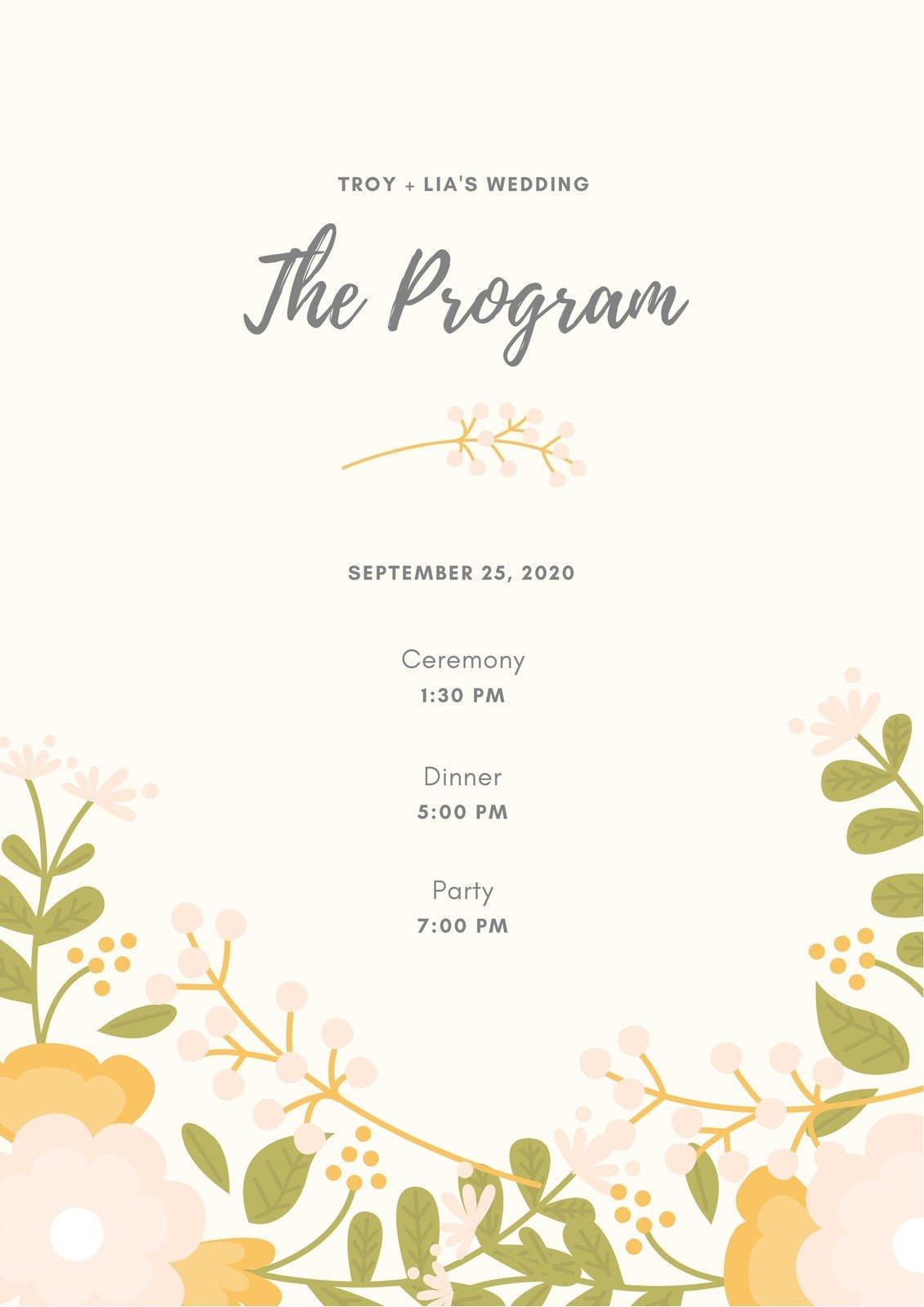 Beige Floral Wedding Program