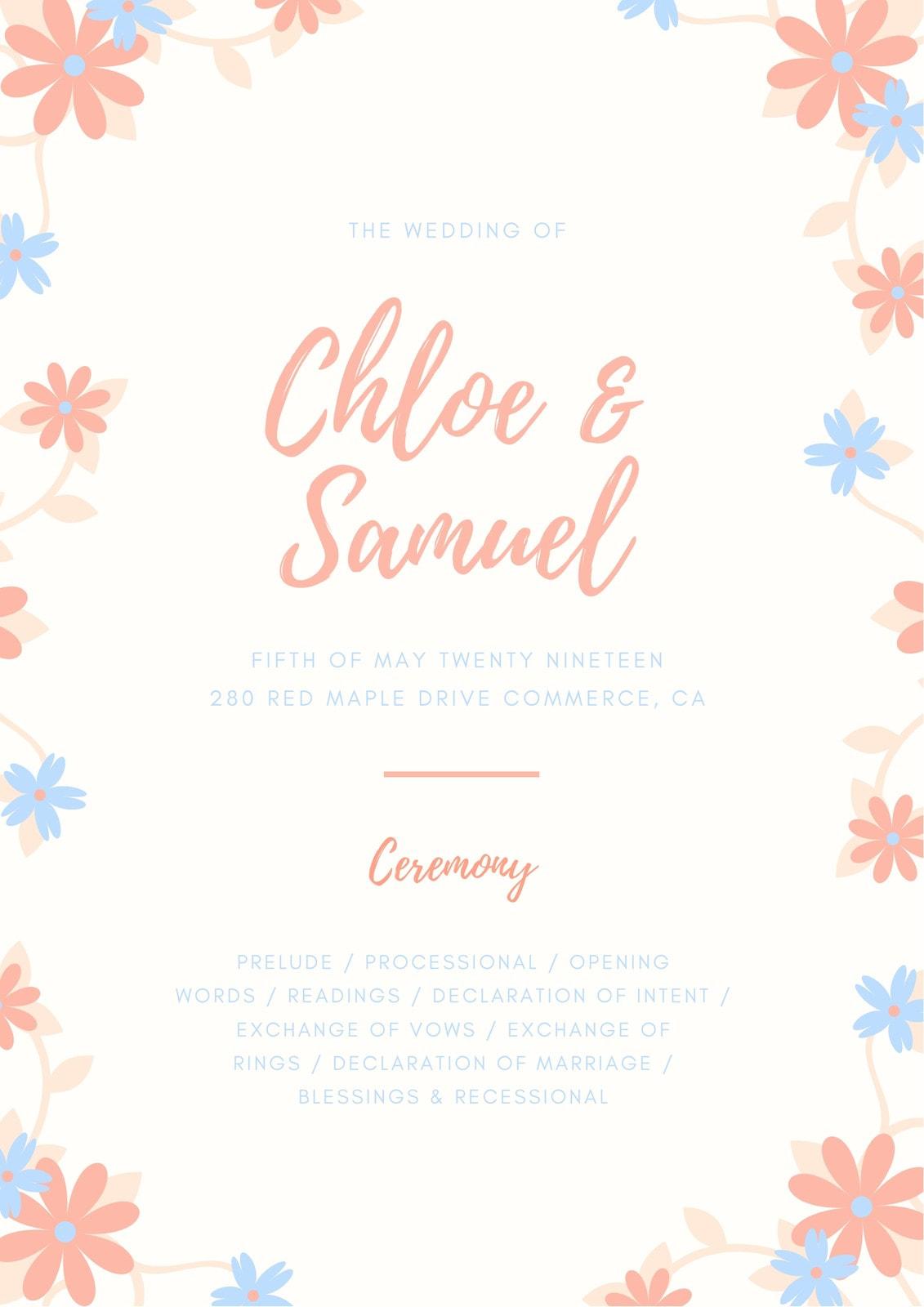 Light Pink Flowers Wedding Program