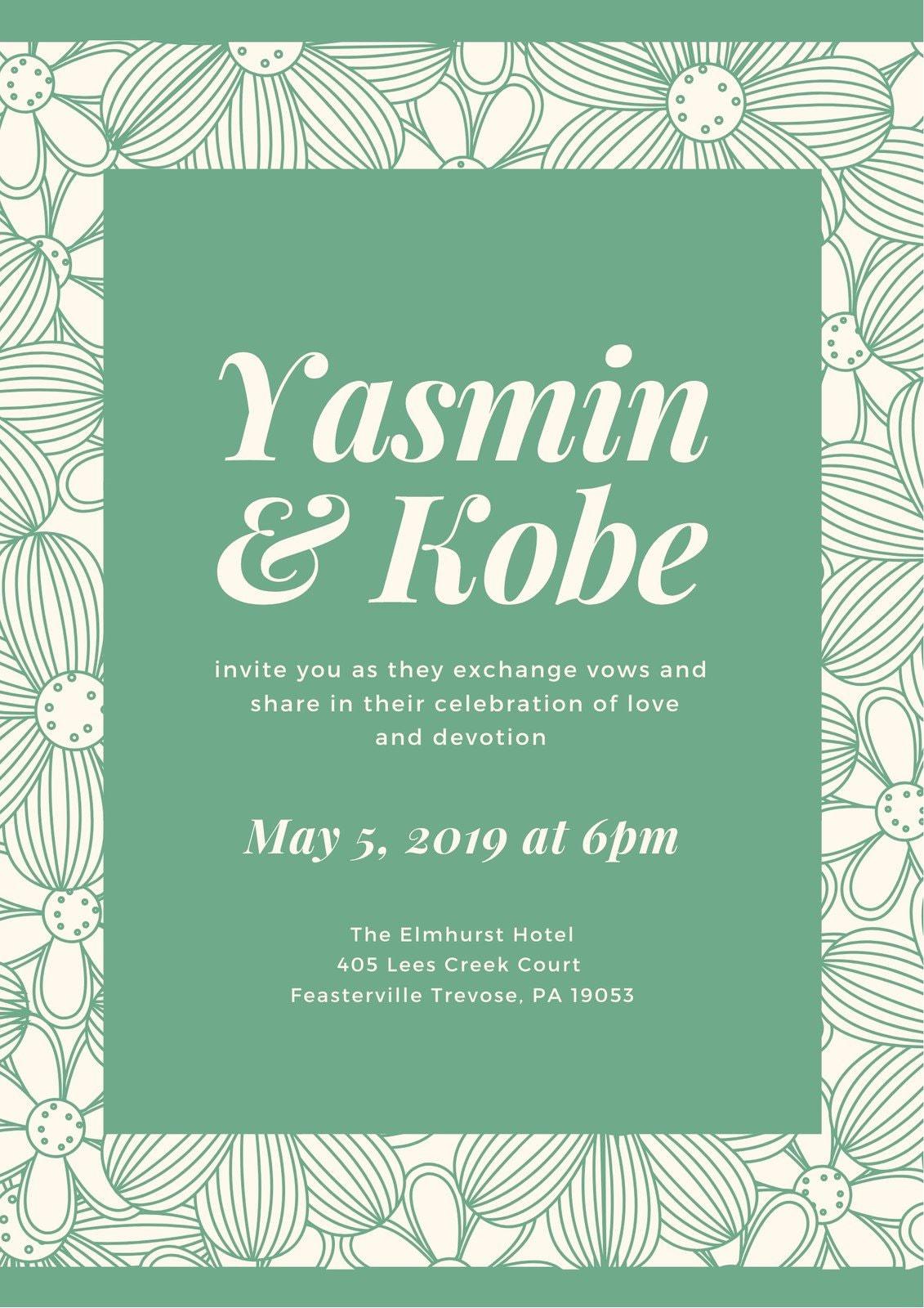 Green Floral Wedding Program