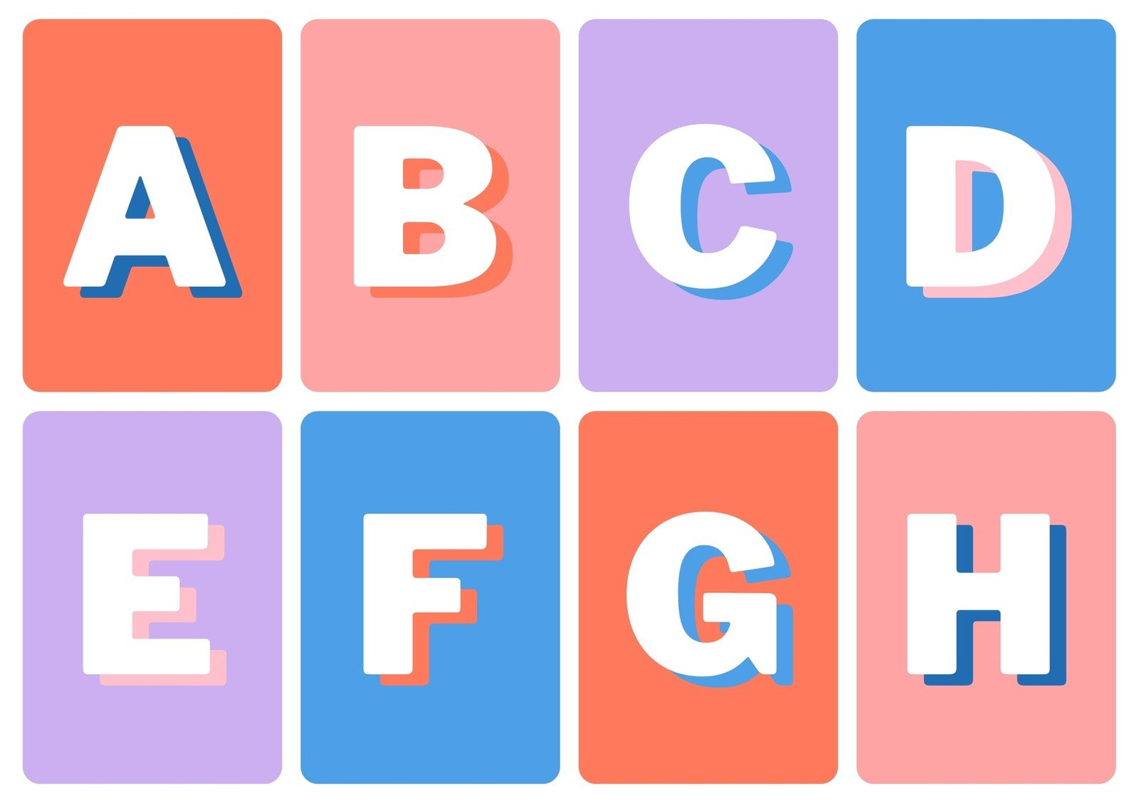 Alphabet Simple Colorful Flashcard Sheets