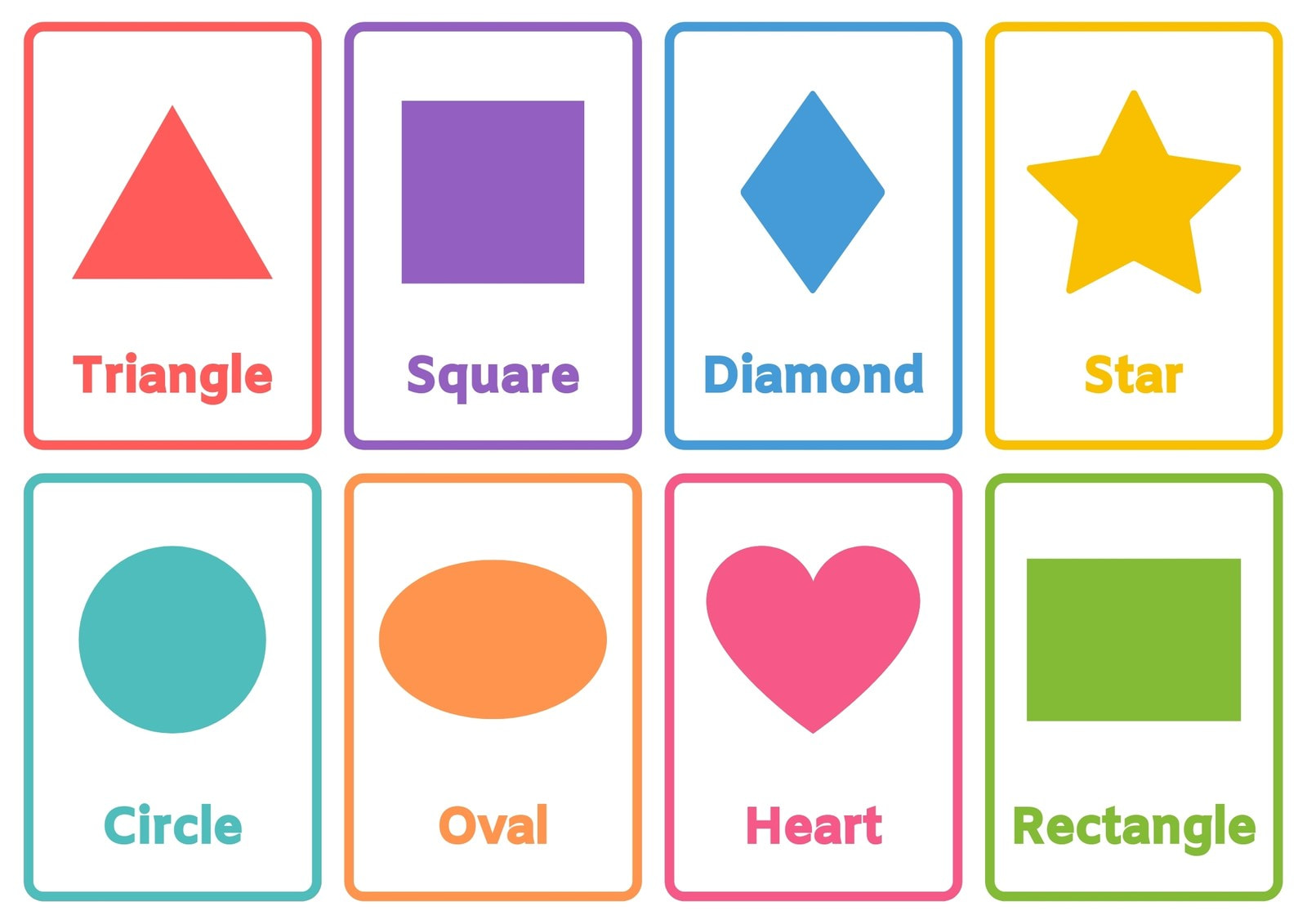 Learn the Shapes Simple Colorful Flashcard Sheets