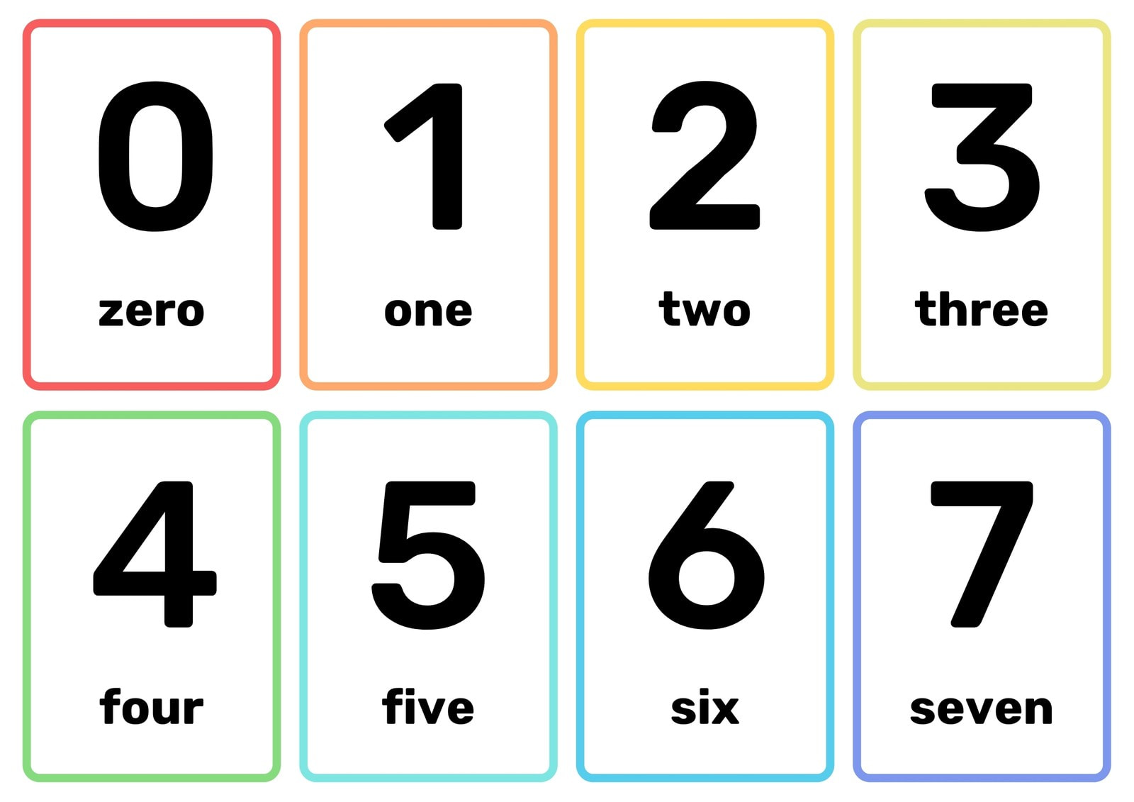 Number Simple Black Flashcard Sheets