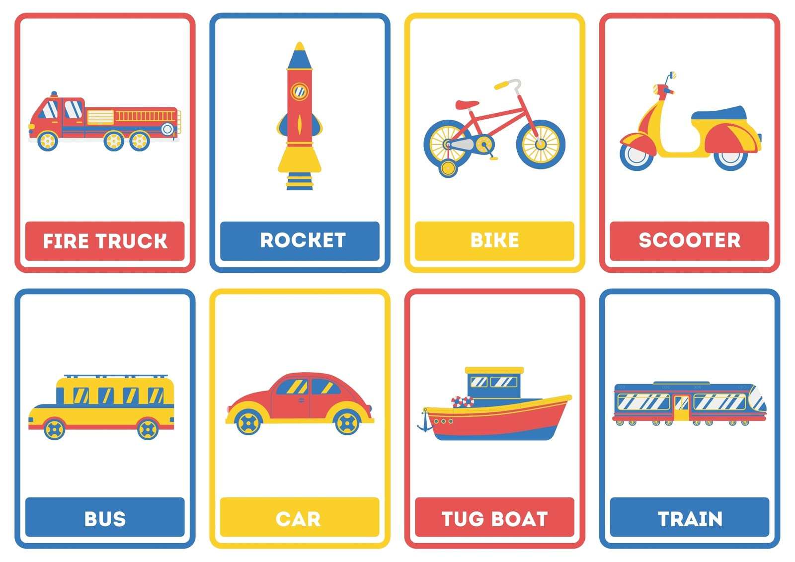 Modes of Transportation Colorful Flashcard Sheets