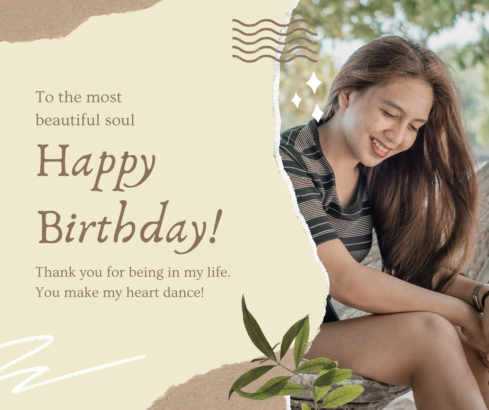 Brown and Beige Moodboard Scrapbook Girlfriend's Birthday Facebook Post