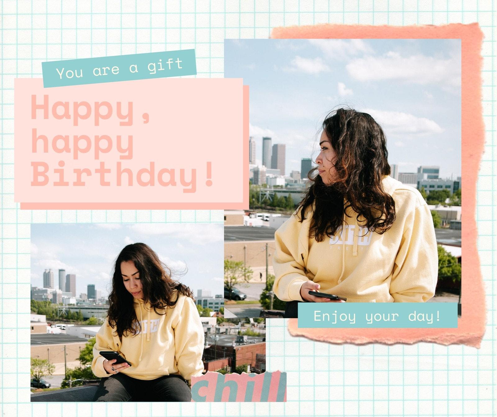 Pink and Teal Photo Modern Scrapbook General Greeting Birthday Facebook Post
