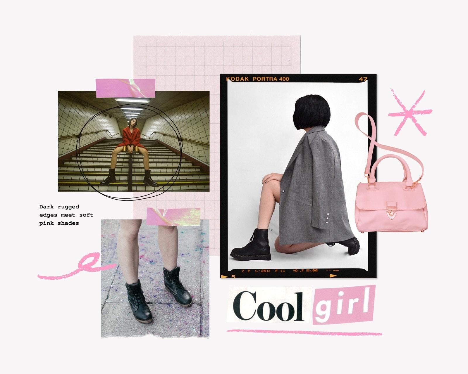 Pink DIY Collage Fashion Moodboard Photo Collage