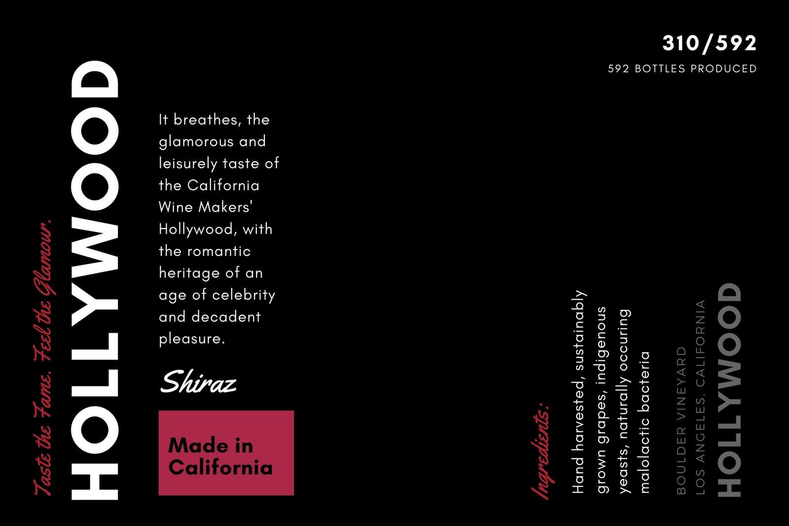 Black Red Modern Wine Label