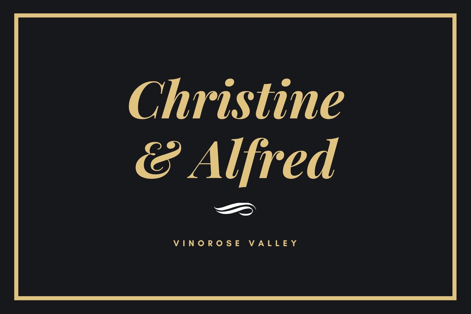 Black and Gold Bordered Wedding Wine Label