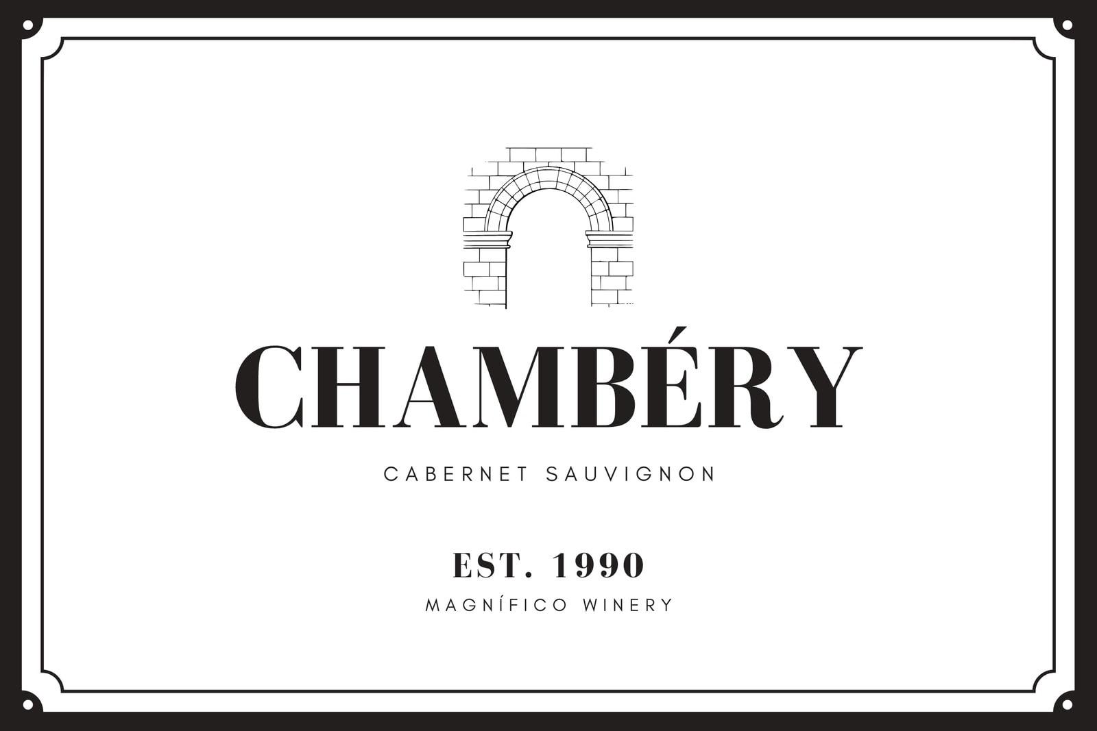 Black Illustration Wine Label