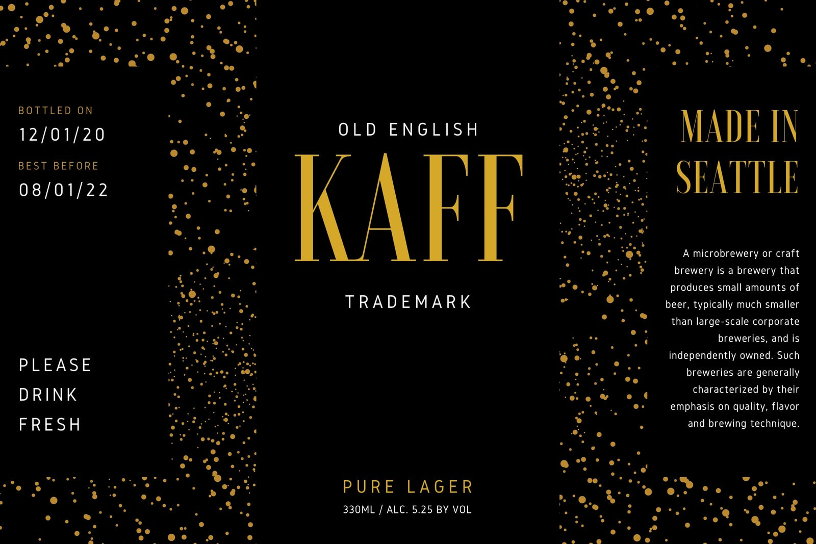 Black and Gold Glitter Beer Label
