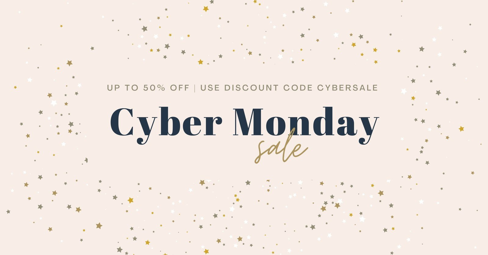 Elegant Cyber Monday Sale Facebook Ad with Starry Confetti Background