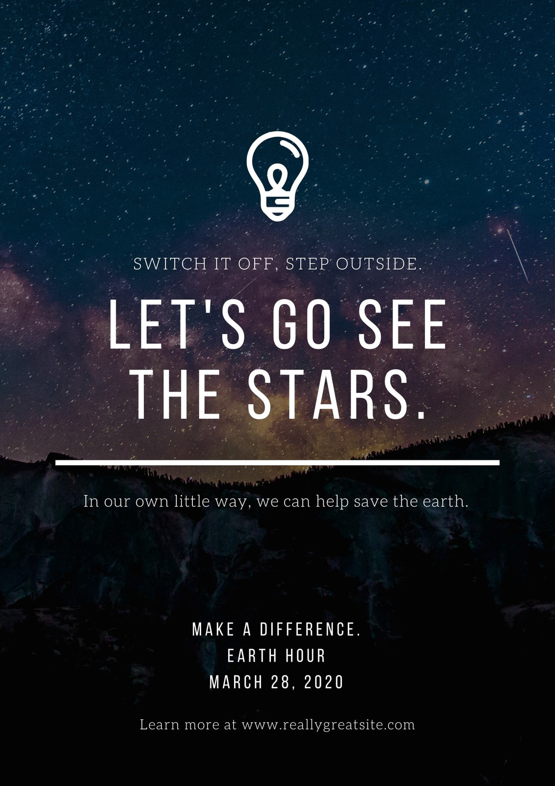Galaxy Background Simple Light Pollution Environmental Awareness Campaign Poster