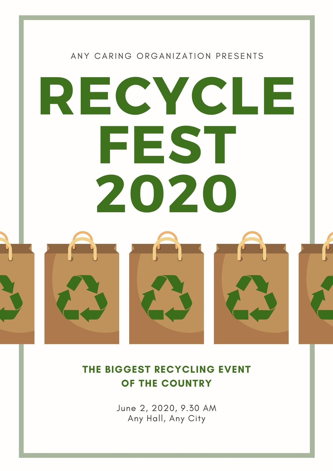 Green White Illustrated Recycling Poster