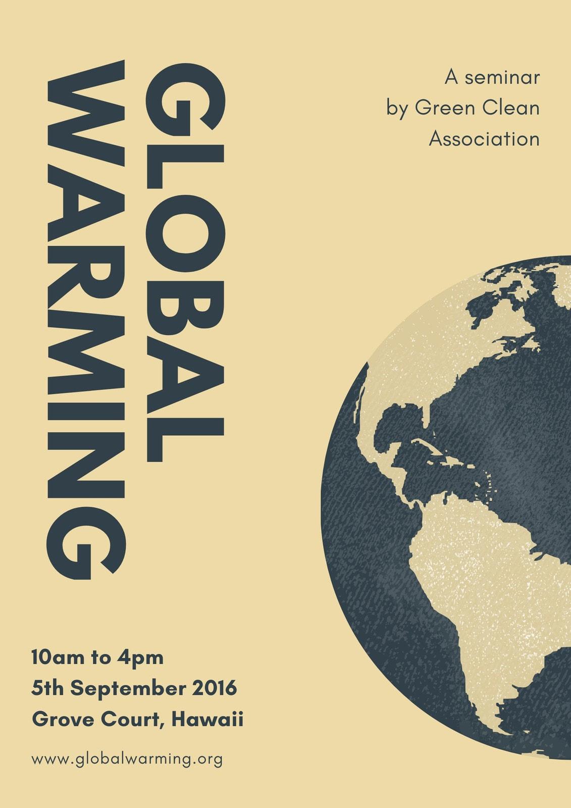 Cream Earth Global Warming Poster