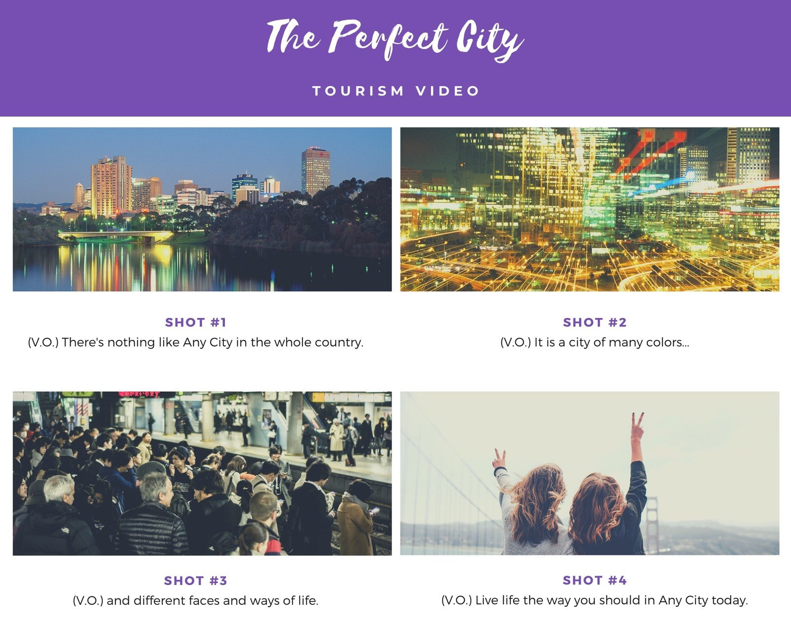 Purple and White Four Panel Storyboard Photo Collage