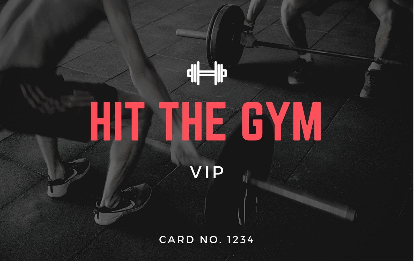 Black Workout Fitness Membership Card ID Card