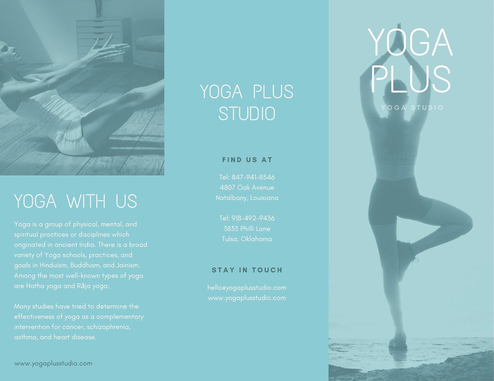 Blue Yoga Trifold Pamphlet Brochure