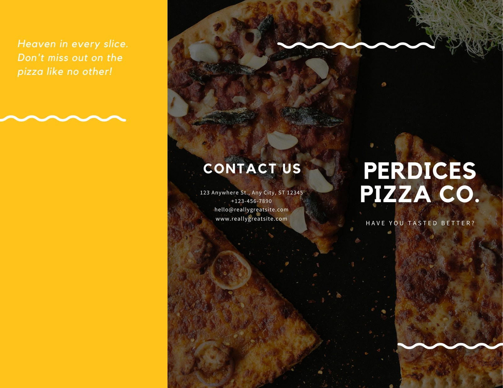Yellow Pizza Pamphlet Tri-fold Brochure