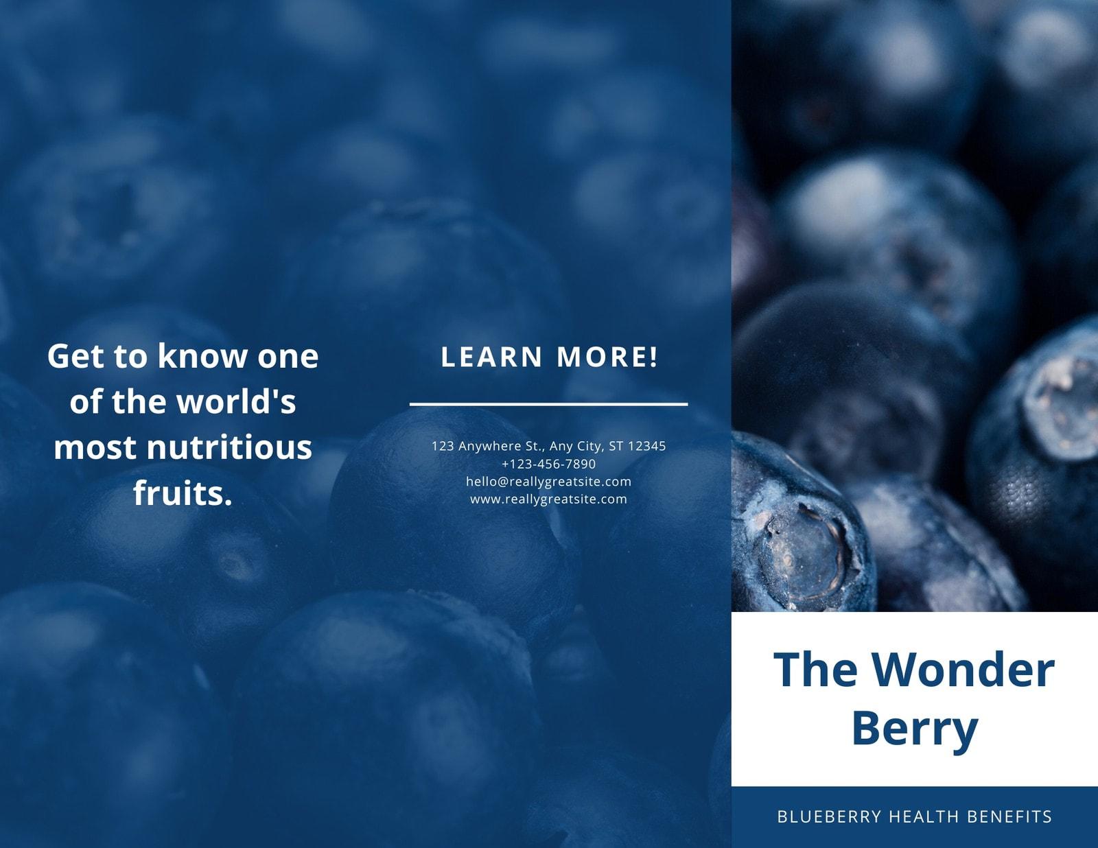 Blue Blueberry Pamphlet Trifold Brochure