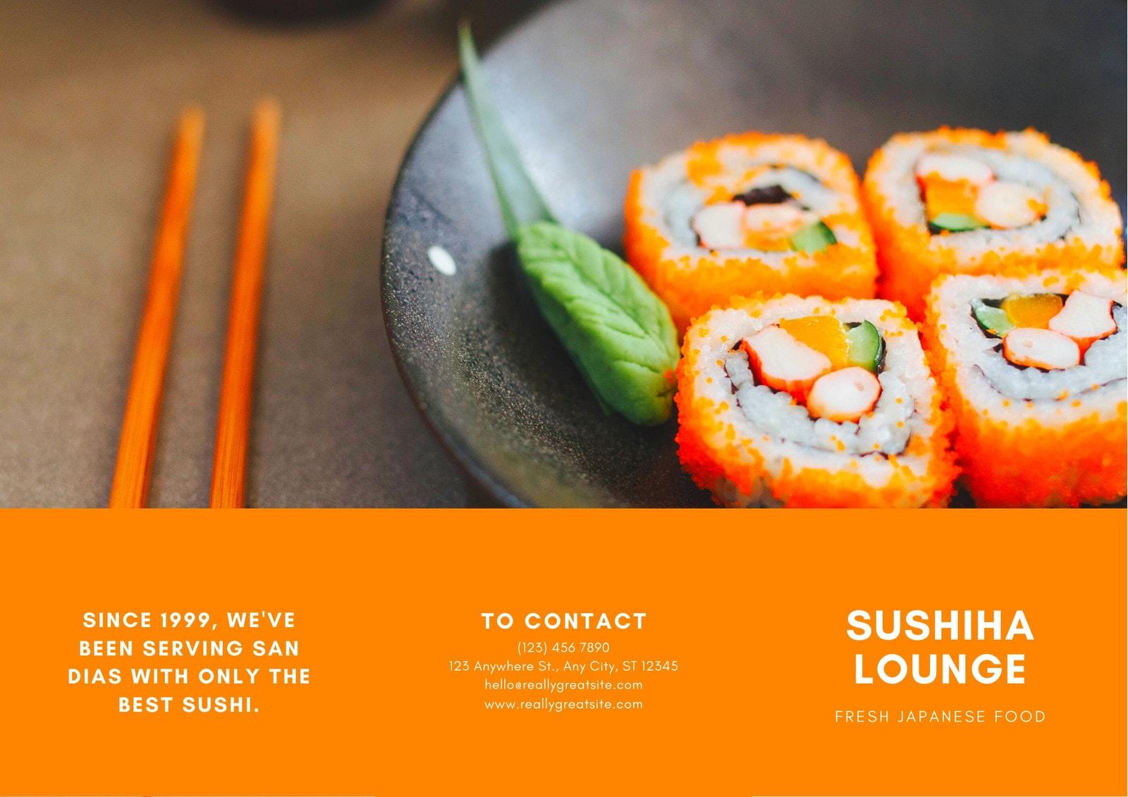 Orange and White Sushi Pamphlet Tri-fold Brochure
