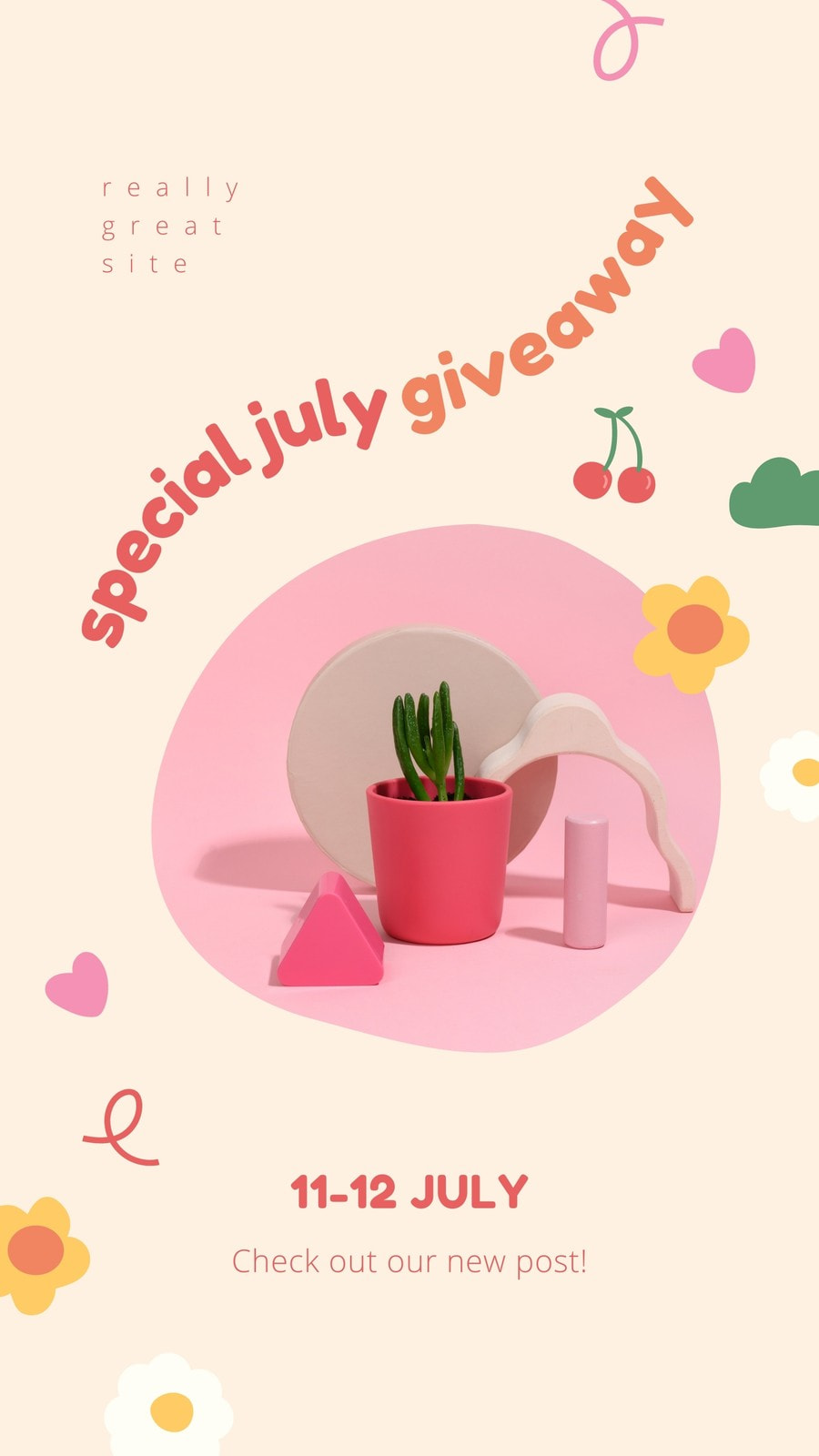 Colorful Cheeky Pink and Ivory Giveaway Promo Instagram Story