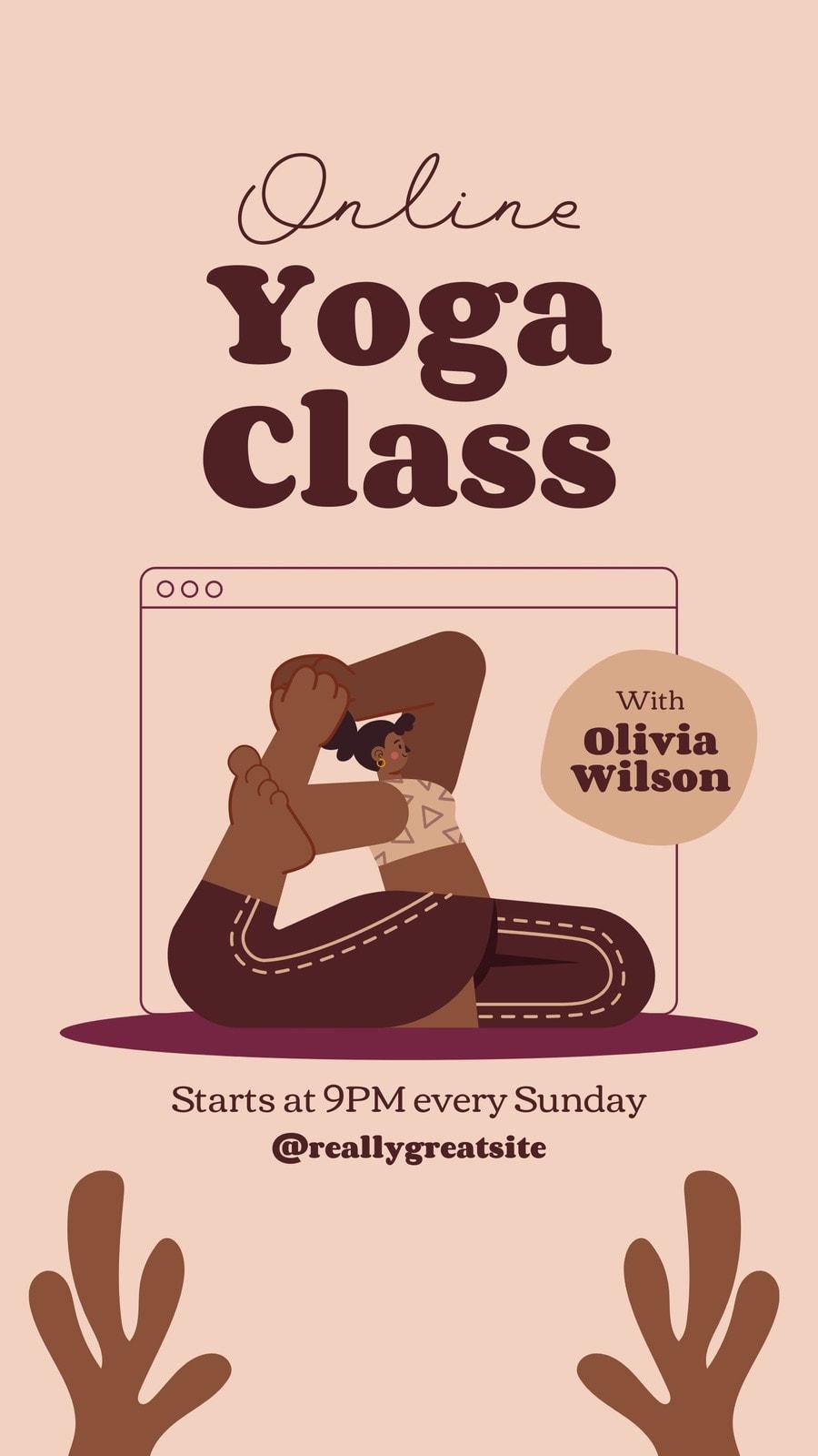 Brown Tan Illustration Online Yoga Class - Instagram Story