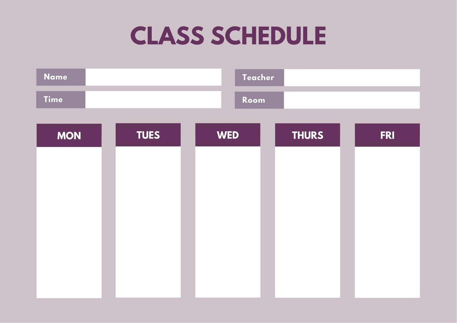 Violet Simple Class Schedule